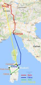 Reiseroute nach und in Sardinien